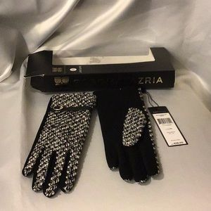 BCBG Tweed look gloves L/XL black/white new in box